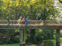 走在桥梁的印地安妇女 免版税库存照片