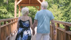 走在桥梁的成熟夫妇握手 夏天礼服和她的丈夫消费时间的典雅的资深妇女 股票视频