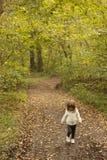 走在森林的小孩女孩在秋天 图库摄影