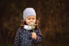 走在森林里的女孩在秋天 免版税图库摄影