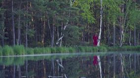 走在森林里的少妇在湖附近 影视素材