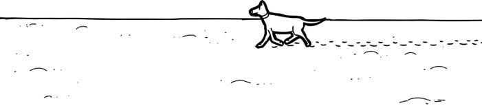 走在沙子的狗概述 皇族释放例证