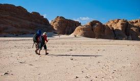 走在沙漠的两个男孩到峡谷,西奈 免版税库存图片