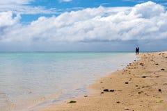 走在波里尼西亚海滩的男人和妇女 库存图片
