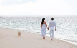 走在海岸的浪漫新夫妇 库存照片