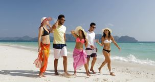 走在海滩谈,男人和妇女通信游人小组的人们暑假 股票视频