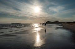 走在海滩的一个人 库存图片