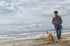 走在海滩的人和狗 库存照片