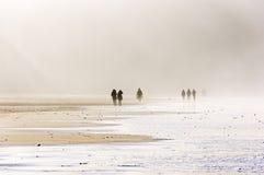 走在海滩的人们 免版税库存照片