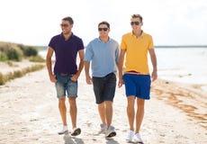 走在海滩的小组朋友 免版税图库摄影