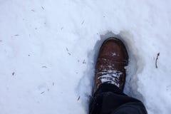 走在深雪的一个人 免版税库存图片