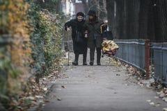 走在温暖的秋天的老妇人 免版税库存图片