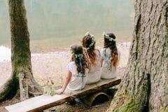 走在湖附近的妈妈和两个女儿 库存照片