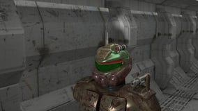 走在火星的一个供水系统的战士 免版税库存照片