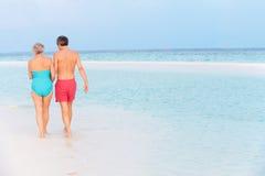 走在热带海的资深浪漫夫妇背面图  图库摄影