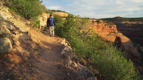 走在犹特人峡谷足迹的男性远足者 股票录像