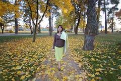 走在秋天公园的女孩 走在有黄色叶子的一条路-街道的妇女盖用黄色秋天 库存照片