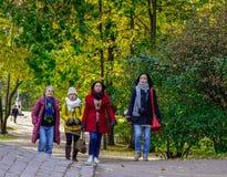 走在秋天公园的妇女 免版税库存照片