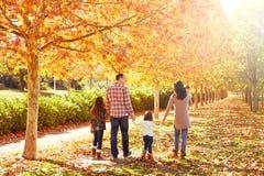 走在秋天公园的家庭 库存照片