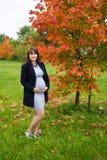 走在秋天公园的年轻人孕妇 图库摄影