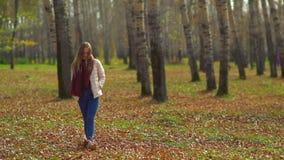 走在秋天公园的年轻可爱的女孩 股票视频