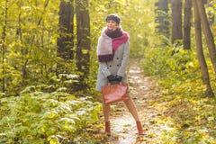 走在秋天公园的年轻时髦的妇女 免版税库存照片