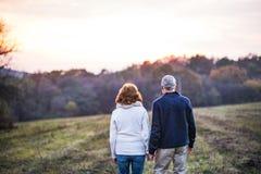 走在秋天自然的资深夫妇,握手 库存照片