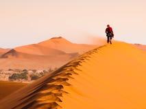 走在红色沙丘土坎的妇女在刮风的天气, Sossusvlei,纳米比亚沙漠,纳米比亚的 库存图片