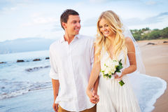 走在美丽的热带海滩的新娘和新郎在日落, R 免版税库存照片