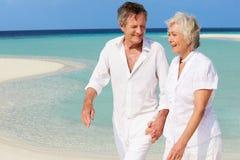 走在美丽的热带海滩的资深浪漫夫妇 库存图片