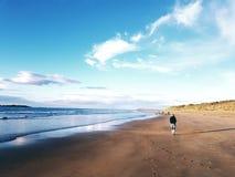 走在美好夏天的海滩的妇女 库存照片