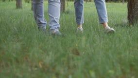 走在草的男人和妇女的特写镜头在公园或森林 股票视频