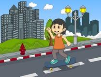 走在街道手动画片的小女孩 库存图片