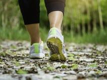 走在足迹室外跑步的锻炼的妇女 免版税库存图片