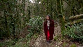 走在足迹的妇女通过绿色森林赤柏松黄杨木潜叶虫树丛在Khosta 股票视频