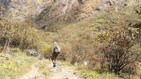 走在迁徙的足迹的徒步旅行者到安纳布尔纳峰营地,喜马拉雅山,尼泊尔 POV 股票录像