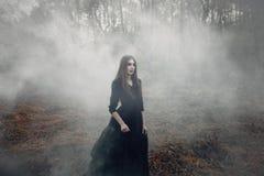 走在重的黑烟的领域的年轻可爱的巫婆 免版税库存图片