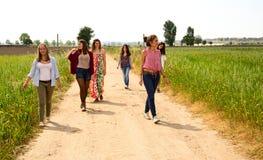 走在野花的领域的小组少妇 免版税图库摄影