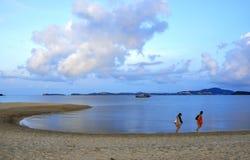 走在金黄海滩的两名妇女 免版税库存照片
