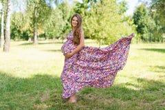 走在长的五颜六色的礼服的公园的美丽的孕妇有飞行织品的 库存照片