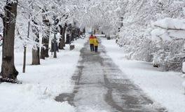 走在降雪期间的人们在公园在索非亚,保加利亚, 2014年12月29日 库存图片