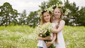 走在雏菊草甸的儿童女孩发痒从昆虫和抓痕身体 股票视频
