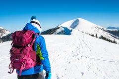 走在雪山的女孩在阿尔卑斯 免版税库存照片