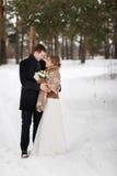 走在雪的一个冬天森林里的年轻夫妇新婚佳偶 免版税库存照片