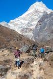 走在高山的小径的远足者 免版税库存照片
