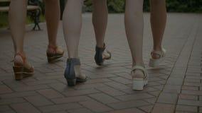 走在鹅卵石边路的亭亭玉立的女性腿 股票录像