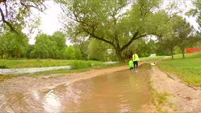 走在水坑的两个孩子在公园 股票视频