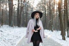 走在backgrou的一个冬天晴天的时髦的女孩 免版税库存图片