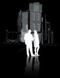 走在city2的男人和妇女 免版税库存图片