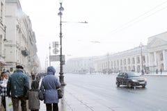 暴风雪在圣彼德堡 库存照片